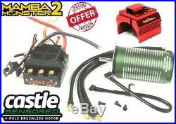 Castle Creations 1/8 Mamba Monster 2 WP ESC 2200kv Motor w Aluminum RED Fan