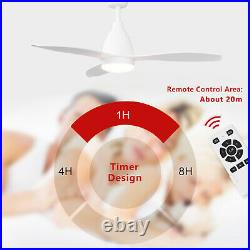 Modern 48 in White Ceiling Fan Light With Remote Control Timer 5 Speed DC Motor